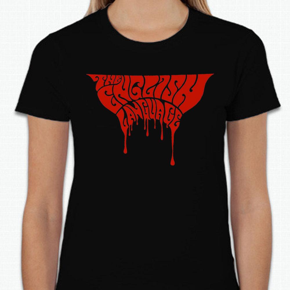 the english language band t-shirt merch blood logo black ladies